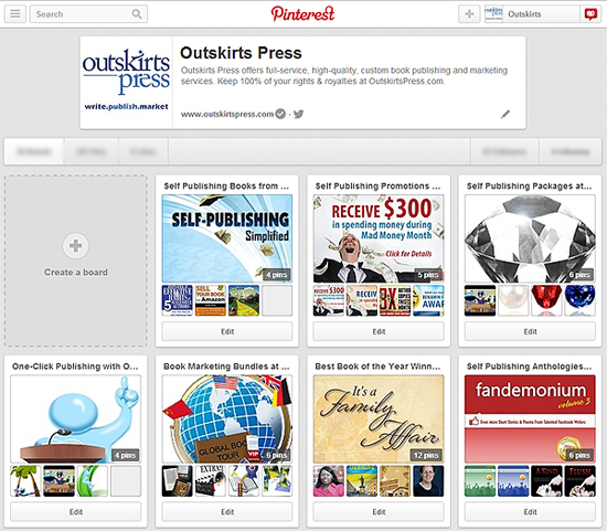 Self publishing branding on Pinterest